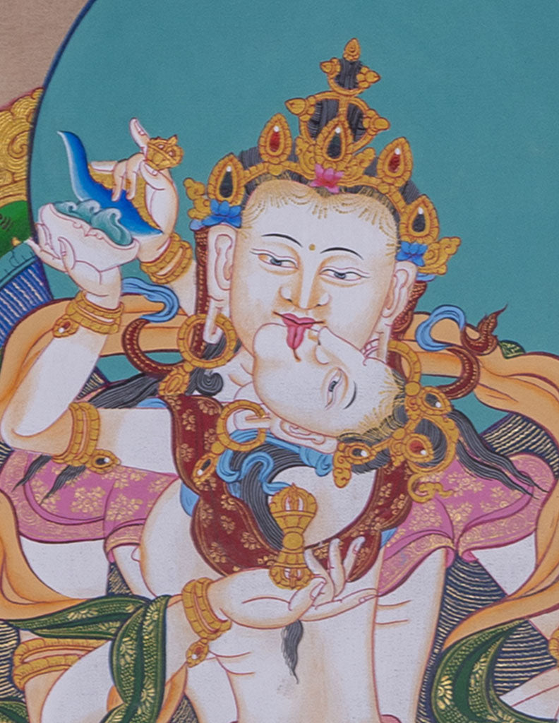 Yab Yum Vajrasattva consort || Tibetan Thangka Painting for Purification Practice -  Best Thangka & Singing Bowl