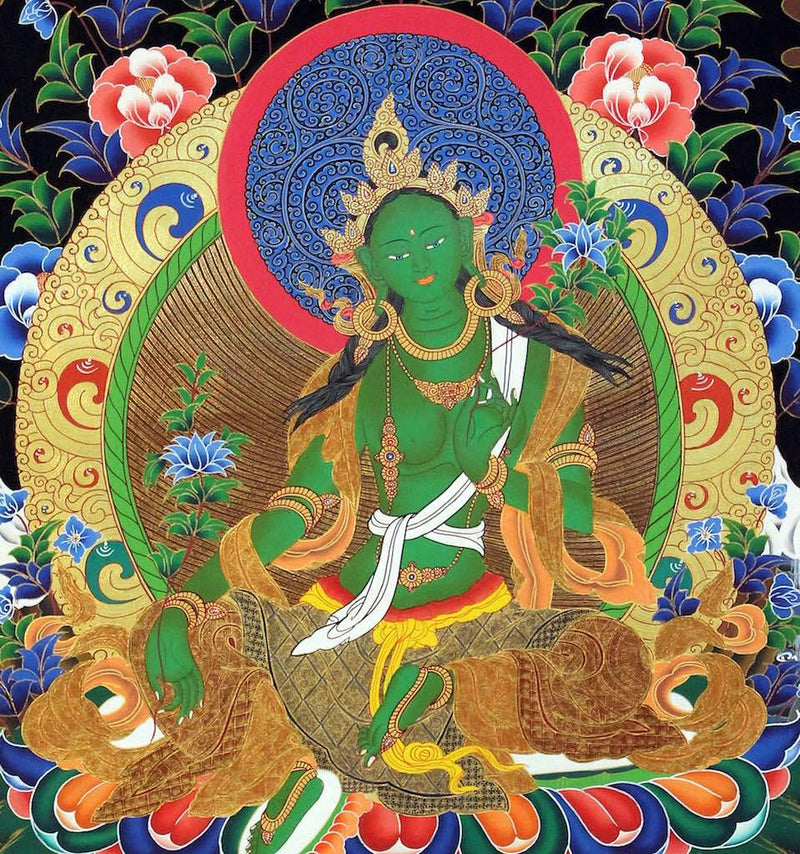 Green Tara Thangka for altar space.