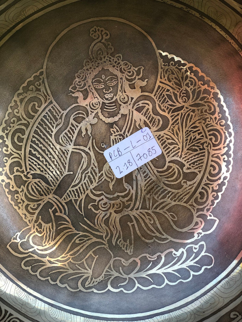 Beautiful Green Tara Hand Carved Singing Bowl from Nepal with Om Mani NI Padme Hum Mantra engraved on bottom | Meditation | Stress Relief -  Best Thangka & Singing Bowl