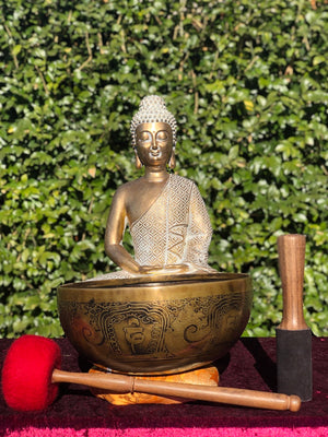 Antique Carved Singing Bowl for Energy Healing | Chakra | Meditation Bowl with premium sound OM -  Best Thangka & Singing Bowl