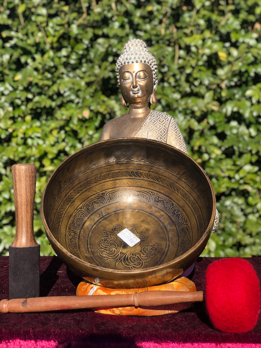 Antique Carved Singing Bowl for Energy Healing | Chakra | Meditation Bowl  with premium sound OM