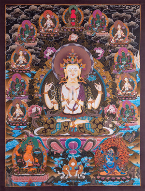 3 Bodhisattva of Compassion || Chenrezig Thangka Wall hanging painting from Nepal -  Best Thangka & Singing Bowl