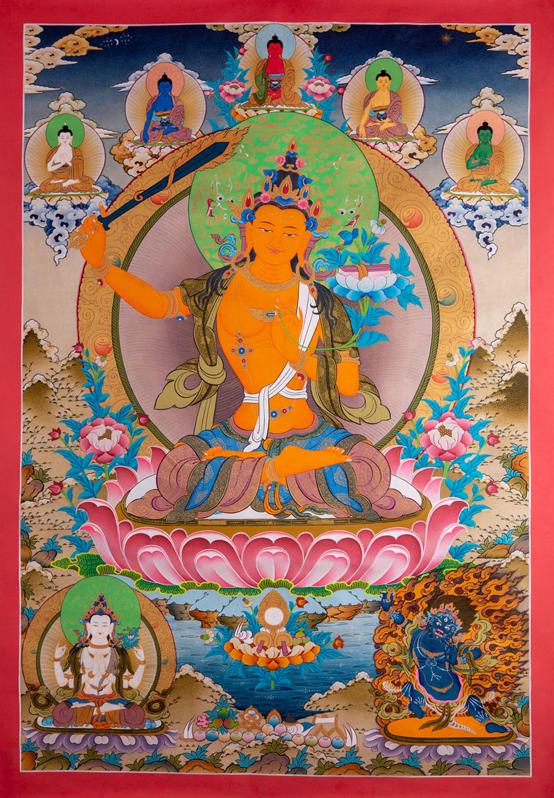 Manjushri Thangka Painting from Nepal -  Best Thangka & Singing Bowl
