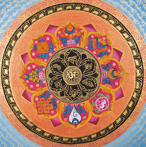 Om Mandala with 8 Auspicious Good Luck Symbol | High quality Tibetan Thangka Painting Art with Pure Gold -  Best Thangka & Singing Bowl