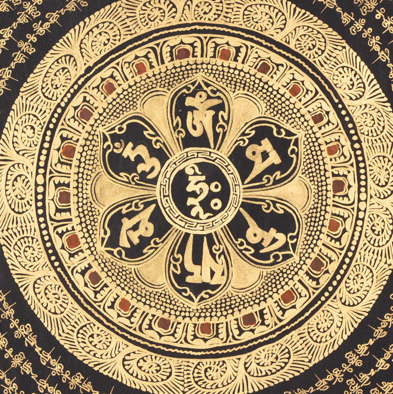 Black and Gold Mantra Mandala, Om Mani Padme Hum Tibetan Thangka painting on Sale -  Best Thangka & Singing Bowl
