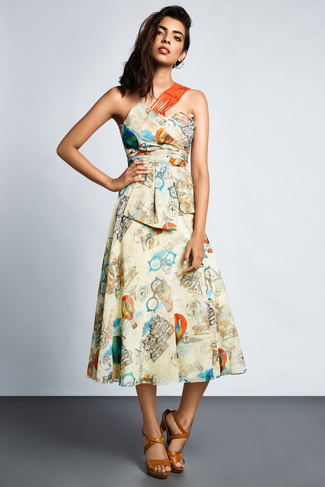 Beige travel print one shoulder dress with pleated bodice and embellished shoulder straps