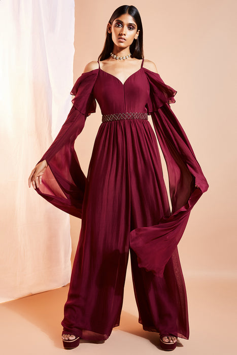Plum wide-legged jumpsuit
