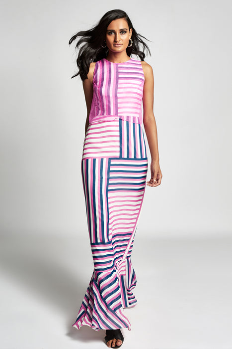 Pink, white, blue stripe print gown with pink organza overlayer