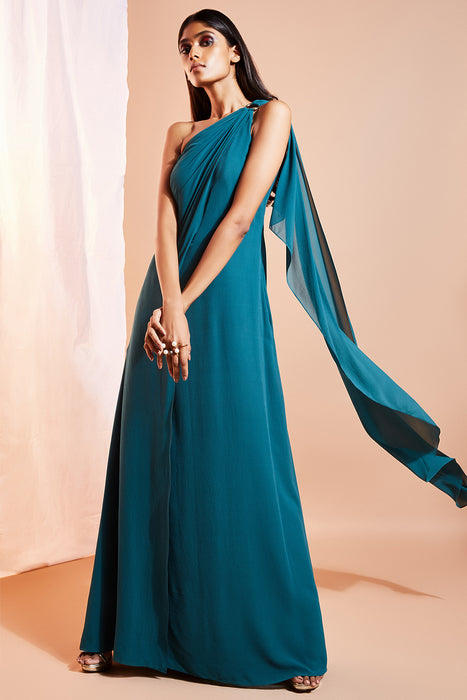 Green one shoulder gown with ring detail