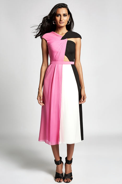 Pink, white and black colour block panelled dress