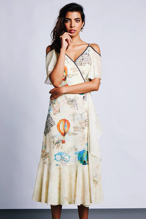 Beige travel combination print overlap dress