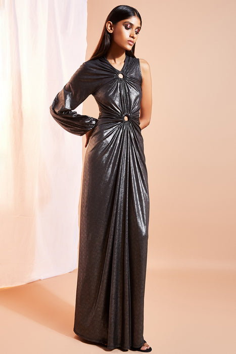 One sleeve black shimmer gown with ring detail