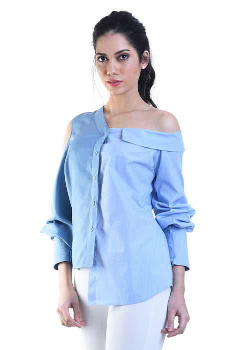 cf8055e7c31b3 Light blue and dark blue deconstructed one side off shoulder shirt –  RitikaBharwani.com