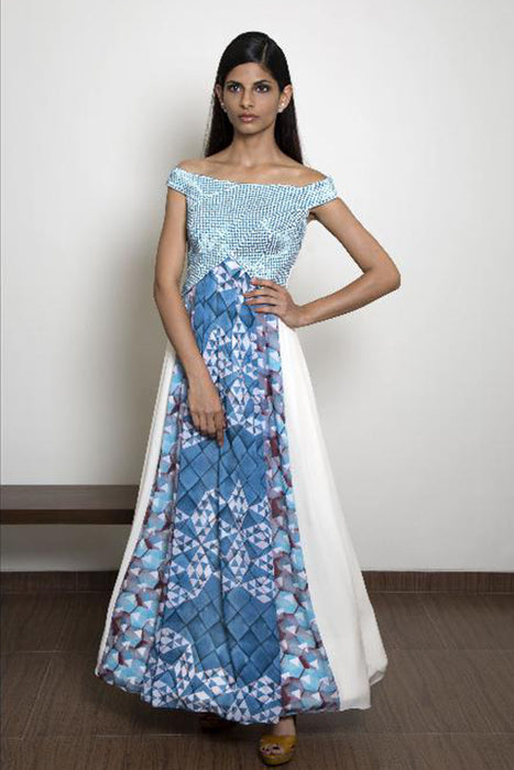 Turquoise Blue and ivory off shoulder gown with checked embroidery on bust