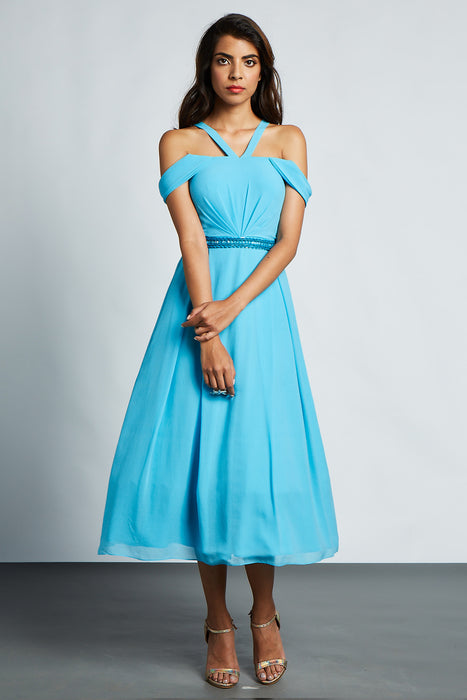 Blue off shoulder dress with embellishment detail