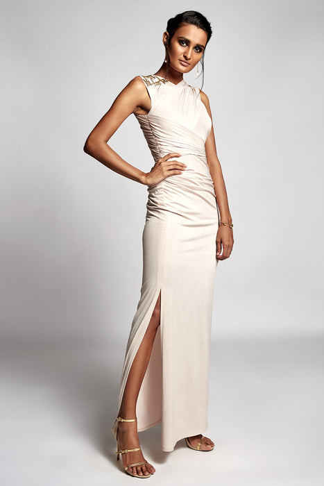 White gold shimmer overlap drape gown with metallic embellishment detail