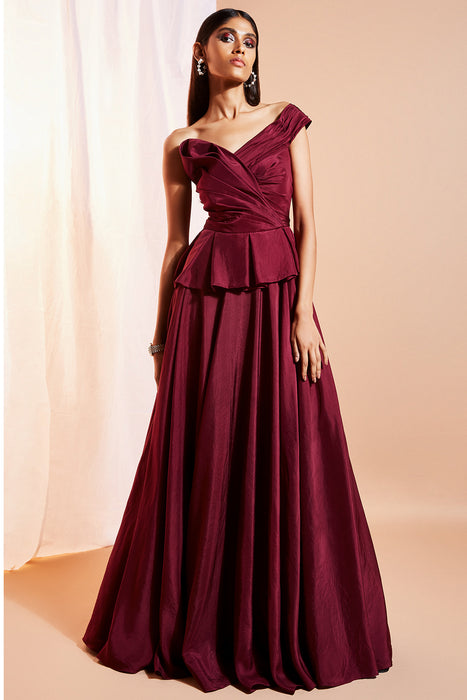 Plum one shoulder pleated bodice gown