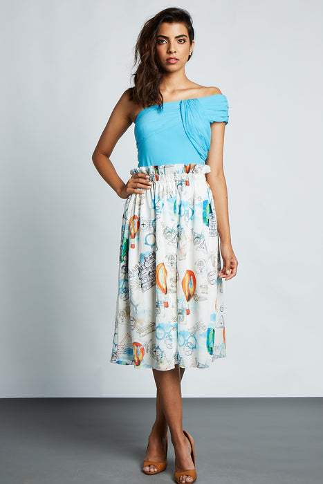 White travel print front open midi skirt