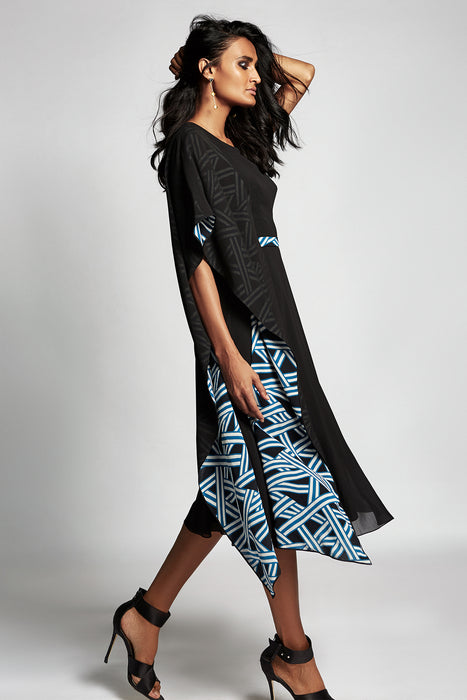 Black dress with one side sleeve and print underlayer detail