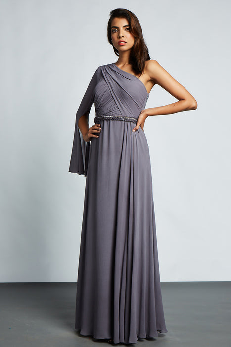 Grey one shoulder gown with pleating detail