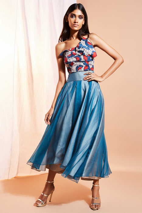 Asymmetric hemline blue skirt