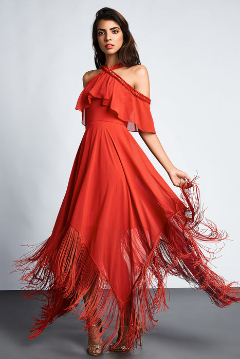 Red cold shoulder dress with ruffle detail and asymmetric hemline