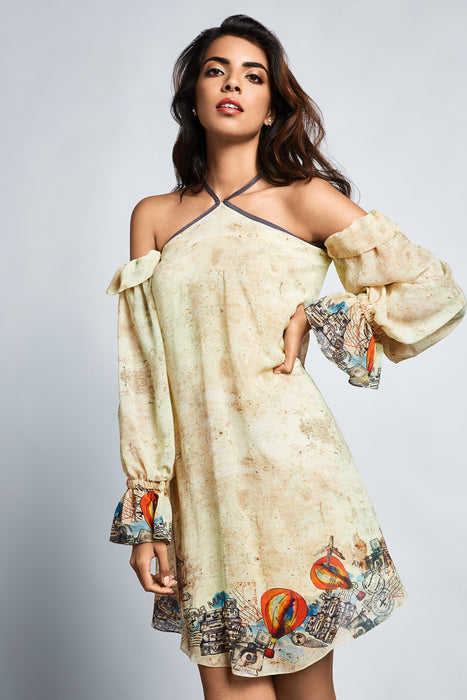 Beige travel print dress with cold shoulder and balloon sleeves