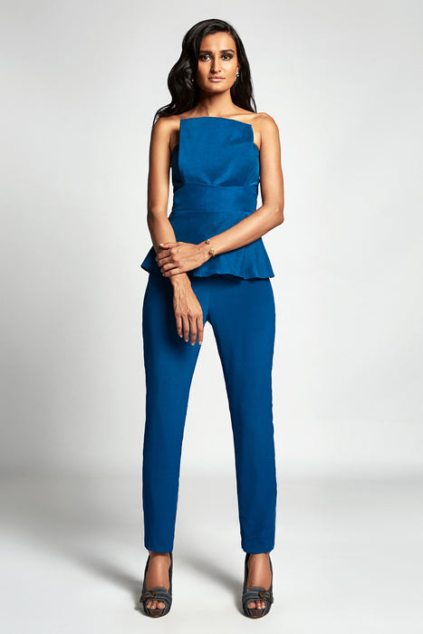 Diver Blue strapless jumpsuit with overlayer detail