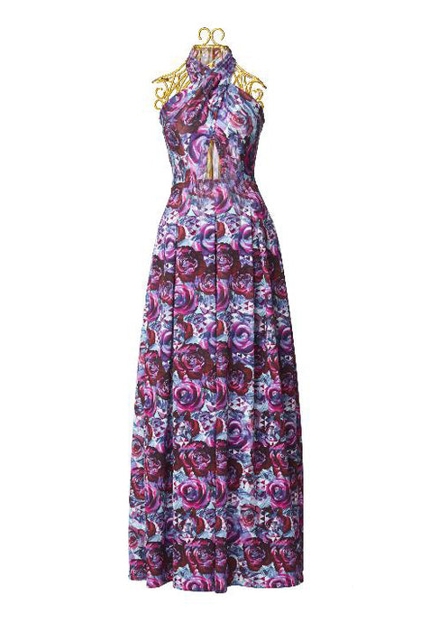 Rose geometric print halter gown with cutout at waist