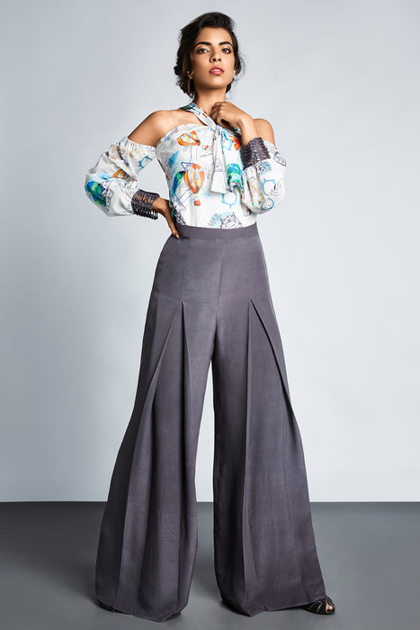 Grey wide legged trouser with pleating detail