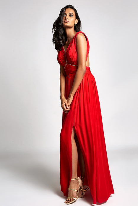 Red V-neck gown with ruching details and open back – RitikaBharwani.com