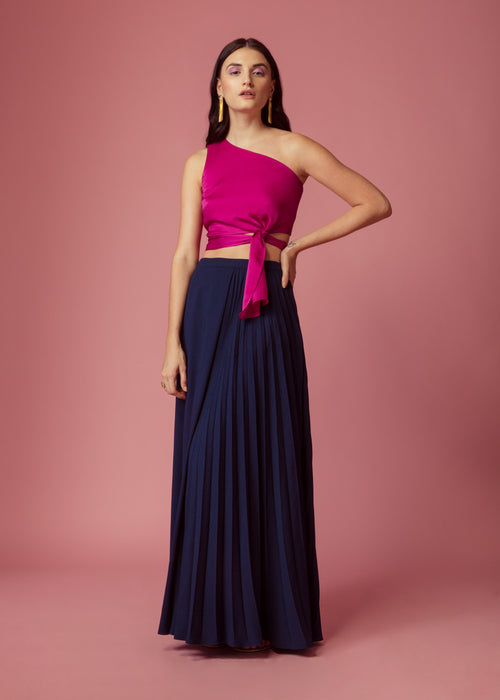 Oxford blue half pleated/half plain long skirt