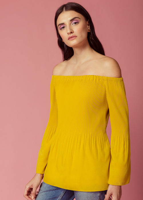 Bumble-bee yellow off shoulder pleated top