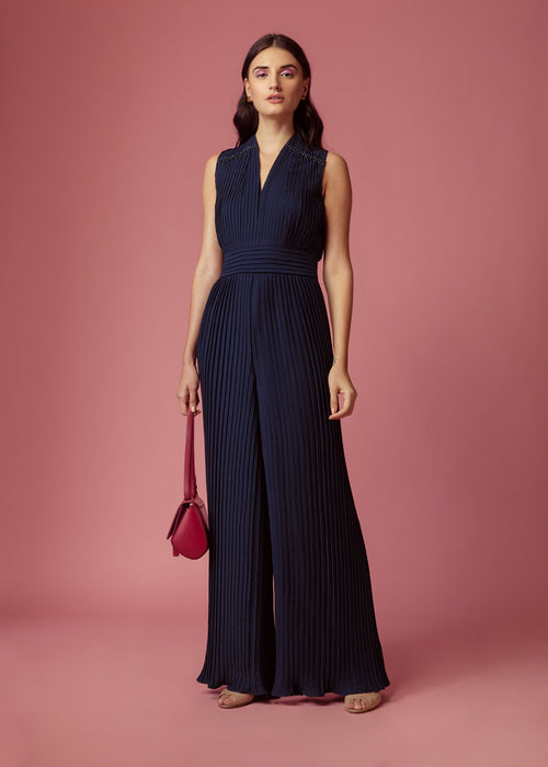 Oxford blue pleated jumpsuit with embellishment