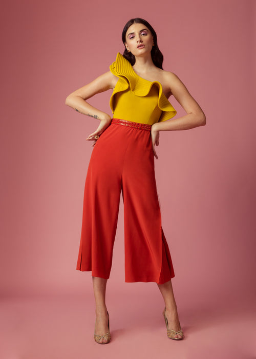 Bumble-bee yellow and scarlet red colourblock jumpsuit with ruffle and embellishment