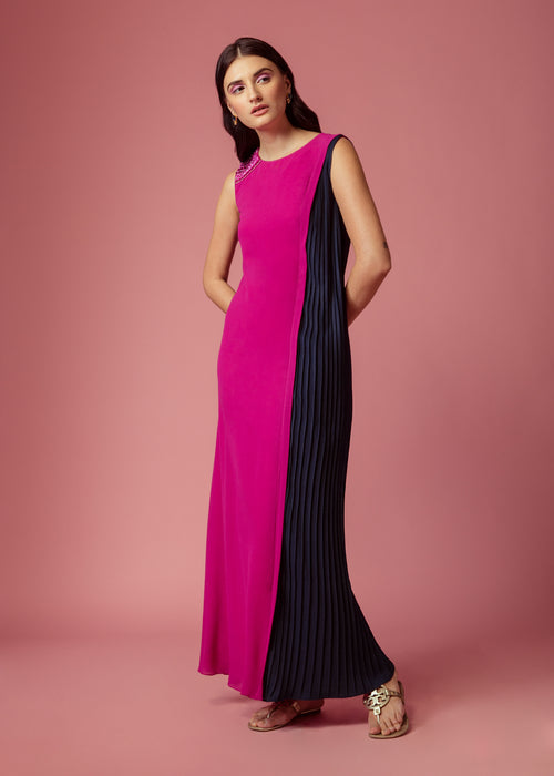 Magenta pink shift maxi with blue pleated panel and embellishment