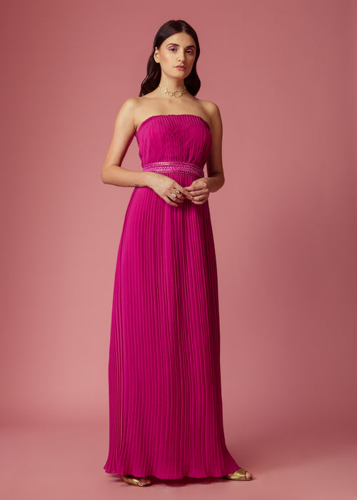Magenta pink strapless pleated gown with embellishment