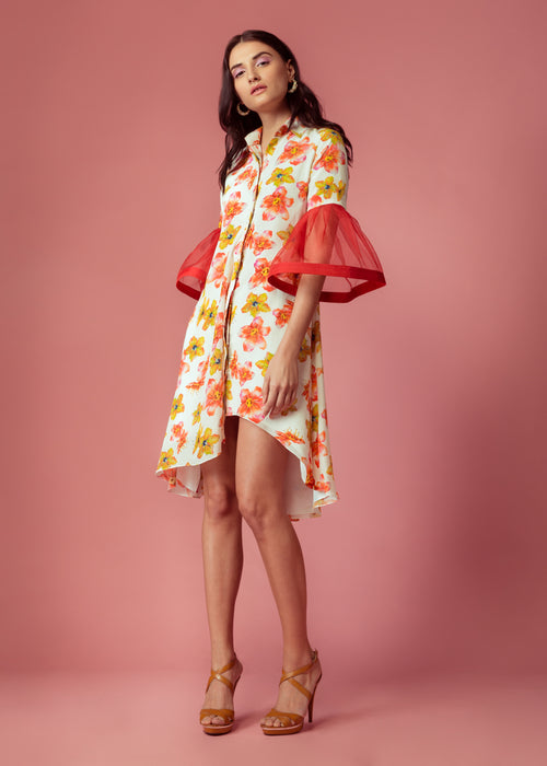 White floral printed asymmetric shirt dress with exaggerated sleeves