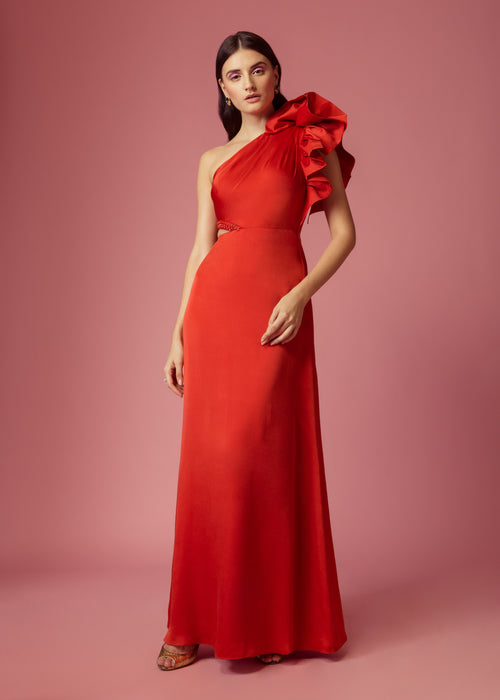 Scarlet red one shoulder ruffle gown with a cut-out and embellishment