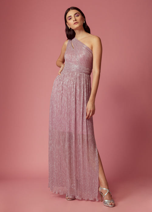 Shimmer lilac one shoulder gown with a slit at the neckline