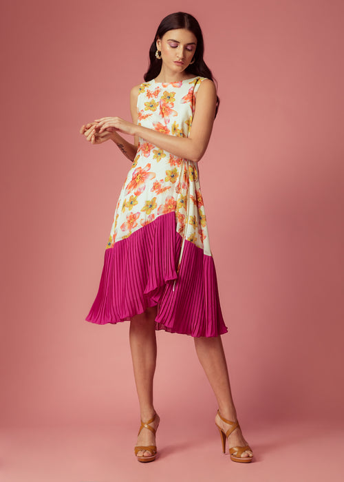 White floral printed tie-up dress with pink panel
