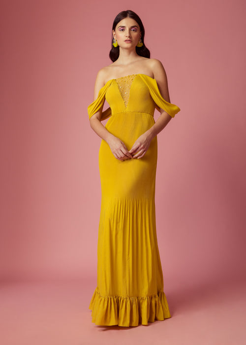Bumble-bee yellow pleated maxi with draped sleeves and embellishment