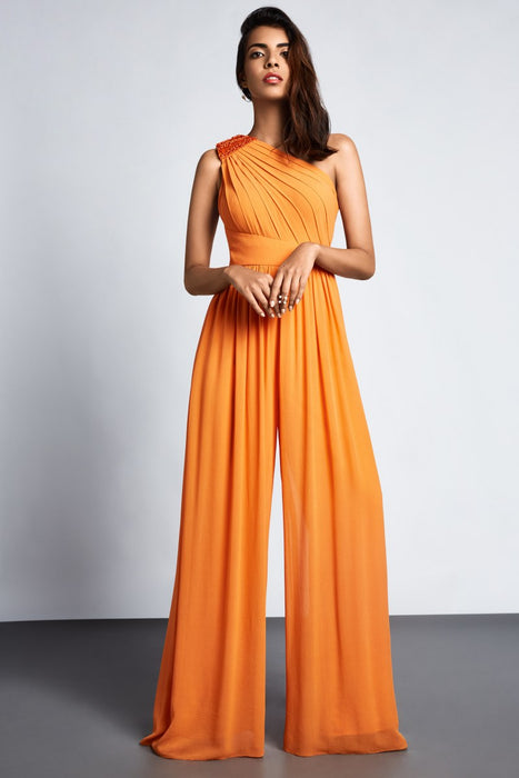 Orange one shoulder wide-legged jumpsuit with pleating and embellishment detail