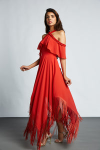 ce19d2e6ce Red cold shoulder dress with ruffle detail and asymmetric hemline ...