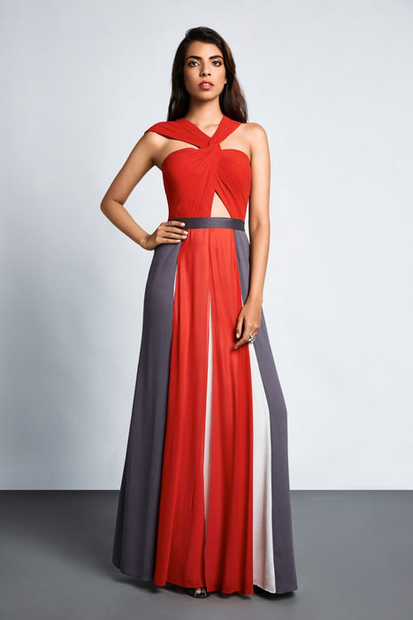Red, grey and white colour block gown with knot detail