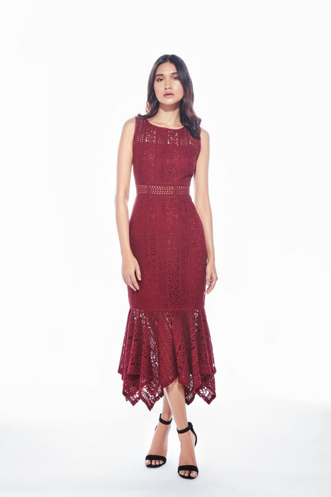 Maroon sheer neck lace dress with hem ruffle