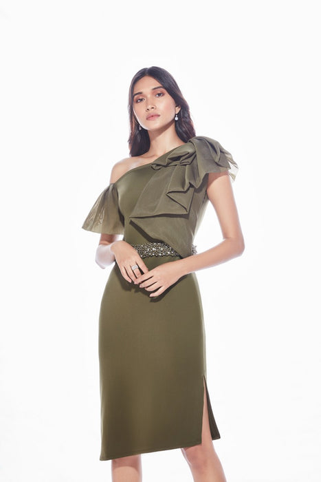 Military green dress with ruffle and embellishment detail