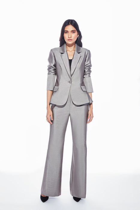 Metallic grey ruffle blazer with pocket detail