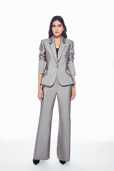 Metallic grey wide leg trouser