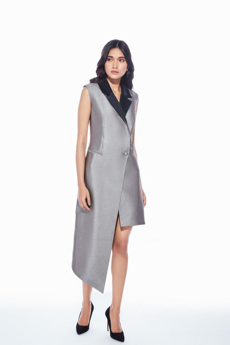 Metallic grey asymmetric hem blazer dress